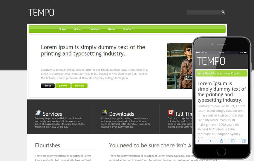 Tempo Free Corporate Website and Mobile Template Mobile website template Free