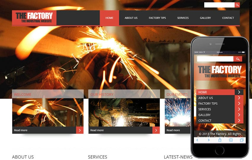 The Factory- Industrial Mobile Website Template Mobile website template Free