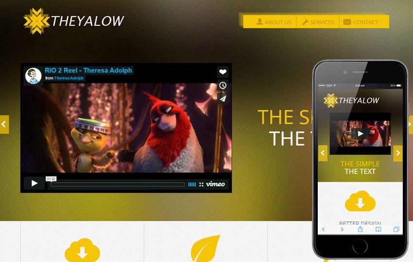 The Yalow a Entertainment Category Flat Bootstrap Responsive Web Template Mobile website template Free