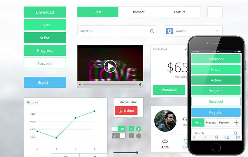 Thin Bright UI KIT Flat Responsive Mobile Web Template By W3layouts