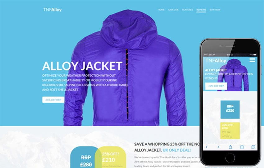 Tnf Alloy a Flat ECommerce Bootstrap Responsive Web Template Mobile website template Free