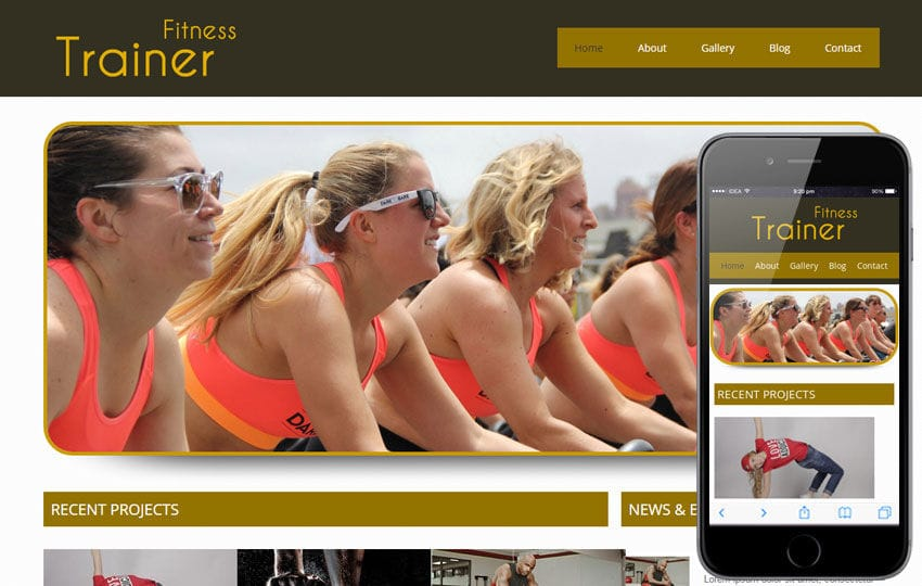 Trainer Health and Fitness Mobile Website Template Mobile website template Free