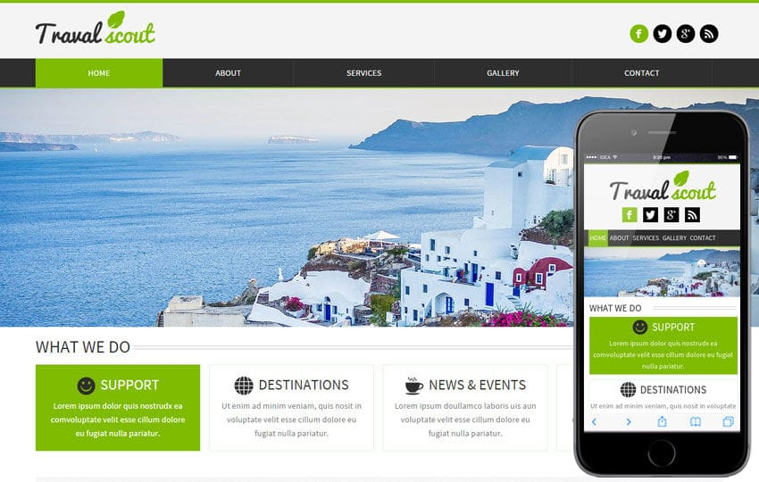 Travel Scout a travel guide Mobile Website Template Mobile website template Free