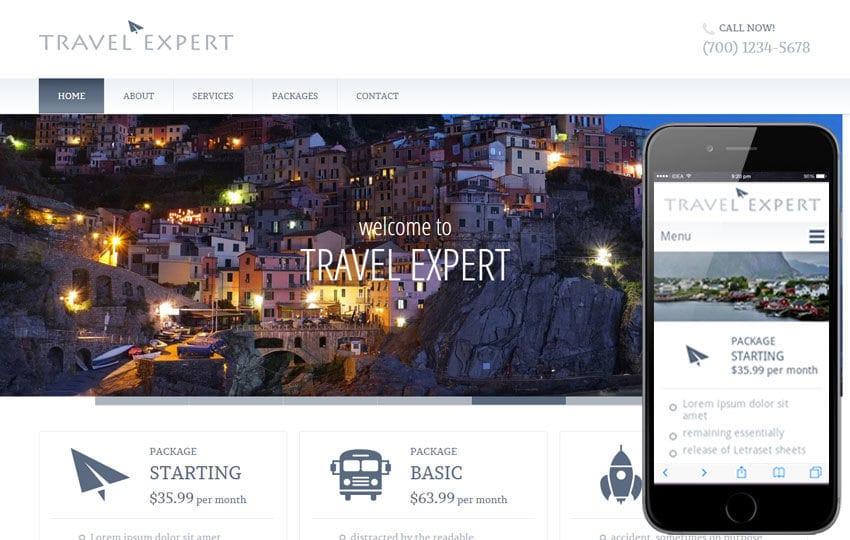 Travel Expert a travel guide Mobile Website Template Mobile website template Free
