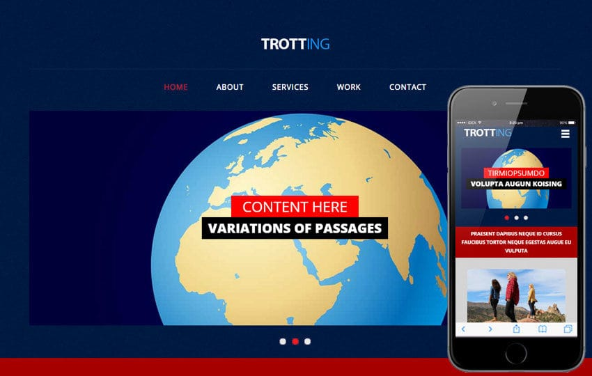Trotting a Travel Category Flat Bootstrap Responsive Web Template Mobile website template Free