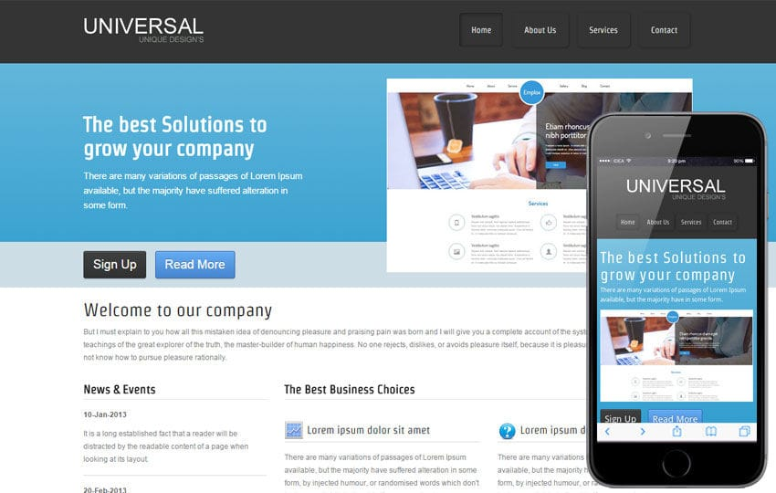 Free universal web template and mobile website template for corporate companies Mobile website template Free