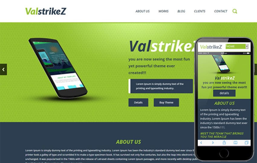 ValstrikeZ a Corporate portfolio Flat Bootstrap Responsive web template Mobile website template Free