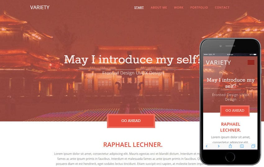 Variety a Flat Portfolio Bootstrap Responsive Web Template Mobile website template Free