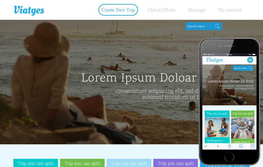 Viatges a Travel Category Flat Bootstrap Responsive Web Template Mobile website template Free