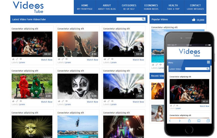 Videos Video Gallery Mobile Website Template