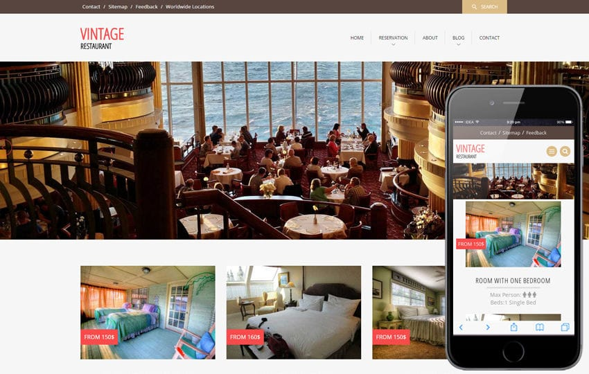 Vintage a Restaurant Flat Bootstrap Responsive web template Mobile website template Free