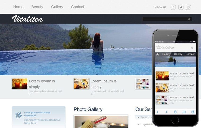 Vitalitea Beauty Care Mobile Website Template Mobile website template Free