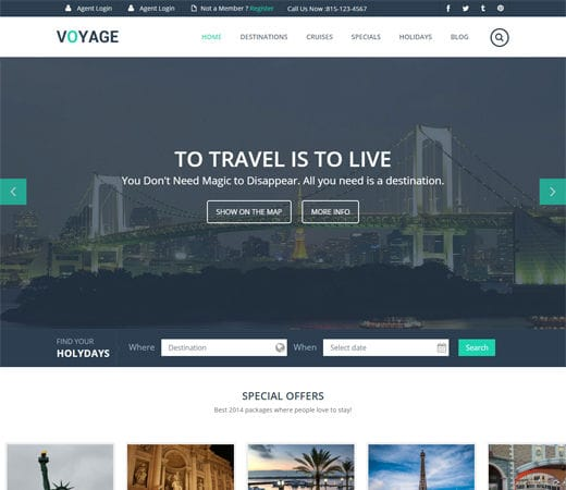 Free website template CSS HTML5 Voyage a Flat Travel Responsive Web Template