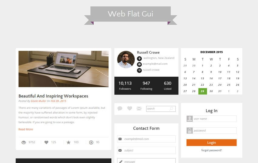 Web Flat Gui UI Kit Responsive Web Template Mobile website template Free