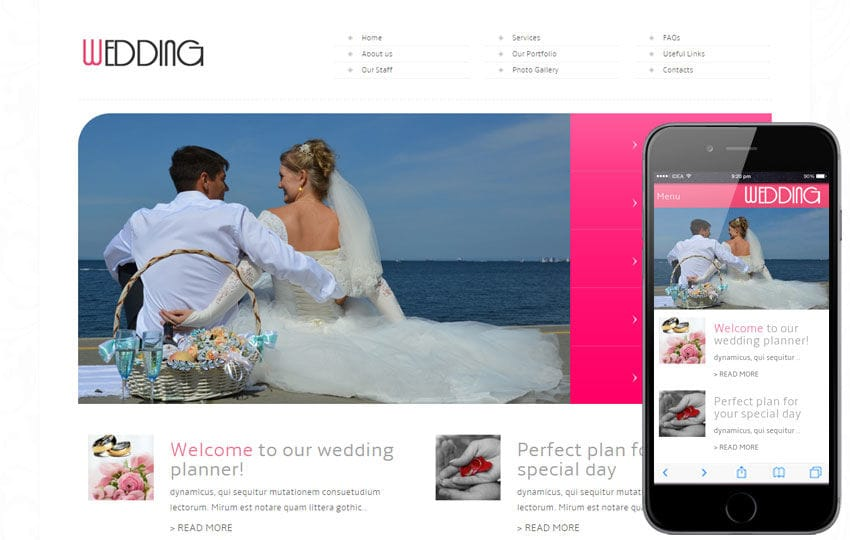 Wedding Planner Mobile Website Template Mobile website template Free