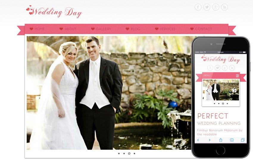 wedding Day A Wedding Planner Mobile Website Template by w3layouts