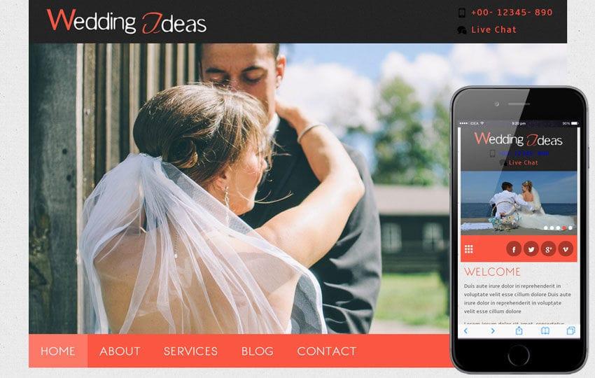 Wedding Ideas a wedding planner Mobile Website Template Mobile website template Free