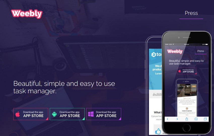 Weebly a Mobile App based Flat Bootstrap Responsive Web Template Mobile website template Free