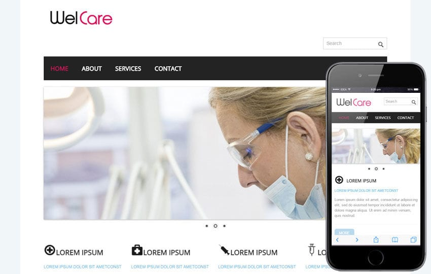 Welcare Hospital Mobile Website Template Mobile website template Free