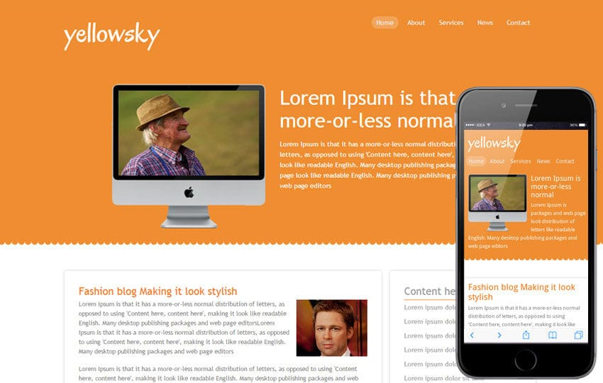 Yellowsky – blogging website and mobile Template for free Mobile website template Free