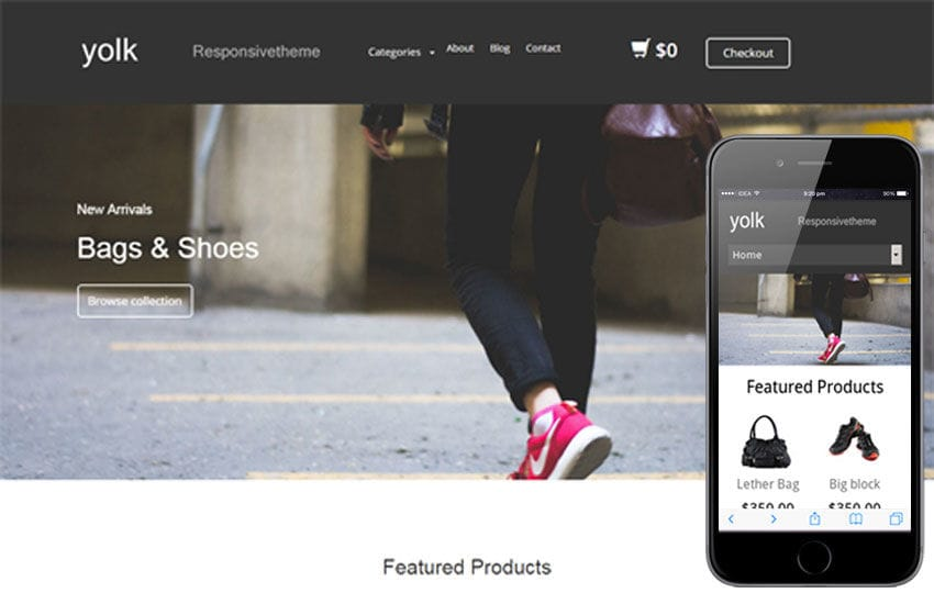 Yolk a Flat ECommerce Bootstrap Responsive Web Template Mobile website template Free