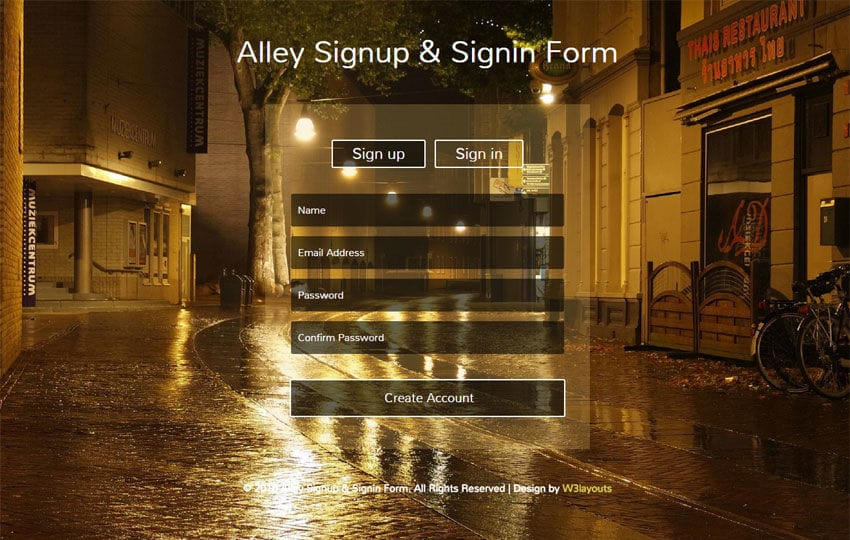 Alley Signup and Signin Form Responsive Widget Template Mobile website template Free
