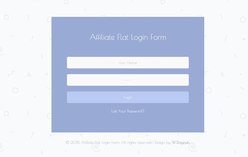Affiliate Flat Login Form Responsive Widget Template - w3layouts.com