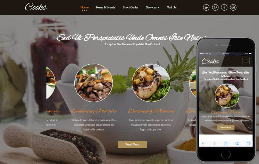 Top free html bootstrap restaurant website templates