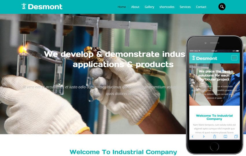 Desmont a Industrial  Flat Bootstrap Responsive Web Template Mobile website template Free