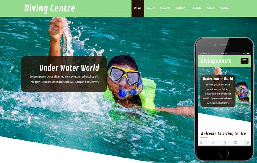 Diving Centre a Sports Category Flat Bootstrap Responsive Web Template Mobile website template Free
