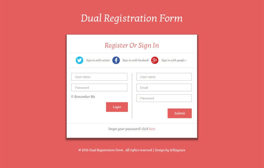 Dual Registration Form Responsive Widget Template - W3Layouts.Com