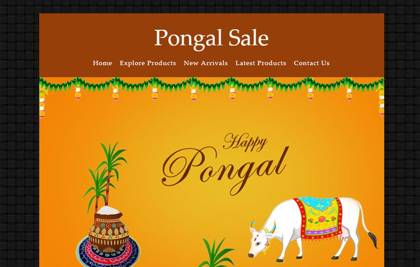 Pongal Sale a Newsletter Responsive Web Template Mobile website template Free