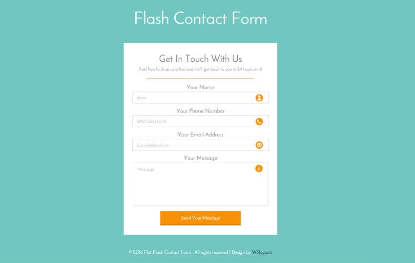 flash contact form responsive widget template