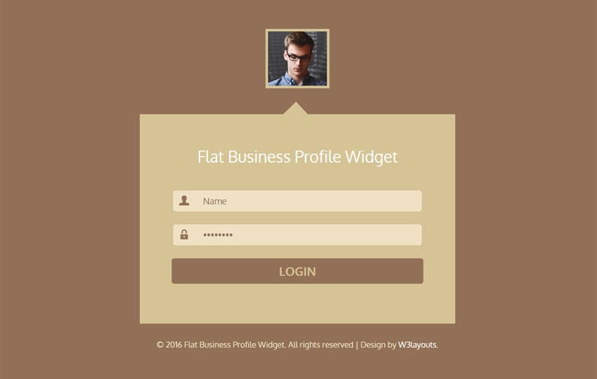 Flat Business Profile Widget Responsive Template - W3Layouts.Com