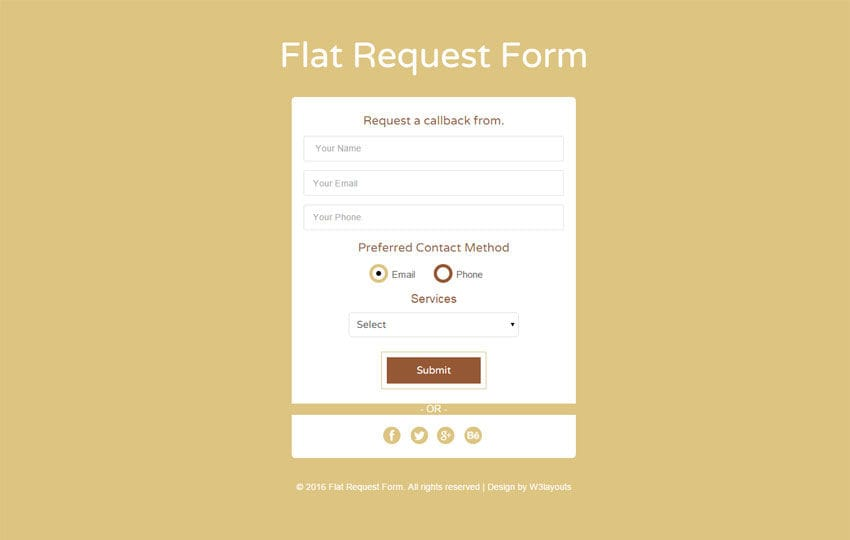 Flat Request Form Responsive Widget Template W3layouts Com
