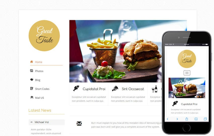 Great Taste a Hotel Category Flat Bootstrap Responsive Web Template Mobile website template Free