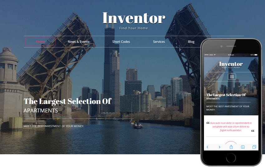 Inventor a Real Estate Category Flat Bootstrap Responsive Web Template Mobile website template Free