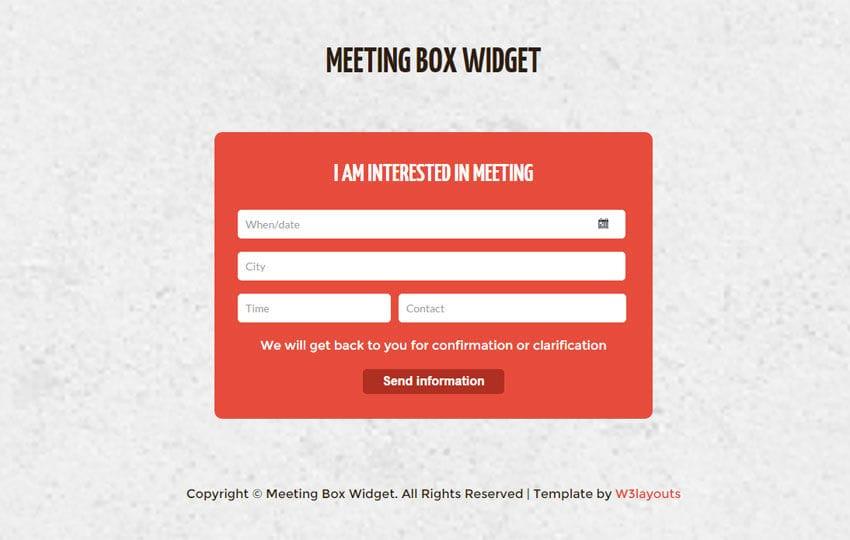 Meeting Box Form Responsive Widget Template - w3layouts com