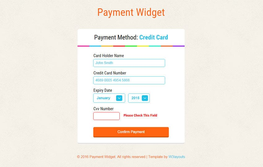 Payment Widget Form Responsive Template w3layouts – Payment Form Template