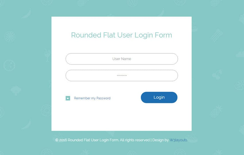 rounded flat user login form responsive widget template w3layouts comrounded flat user login form responsive widget template