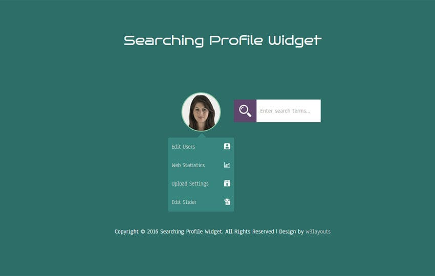 Searching Profile Widget Responsive Template W3layouts