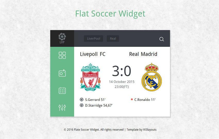 Flat Soccer Scoreboard Responsive Widget Template  WLayoutsCom