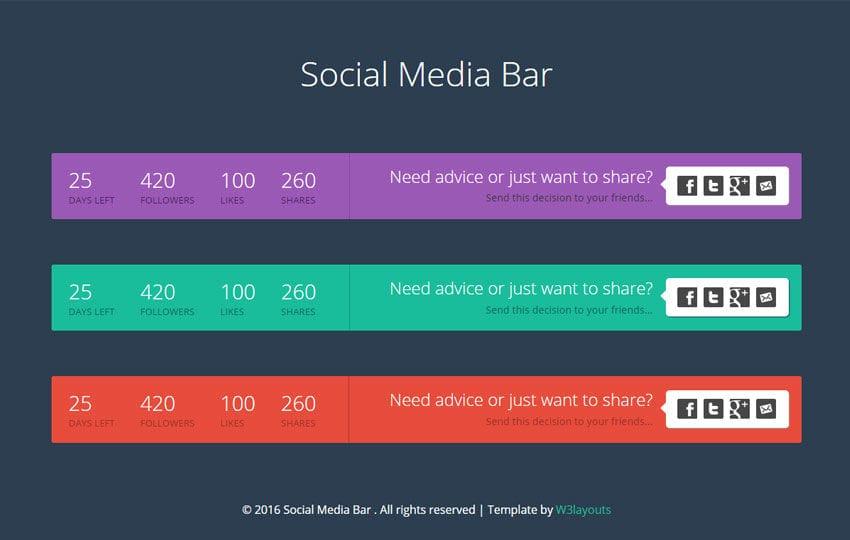 social media bar responsive widget template