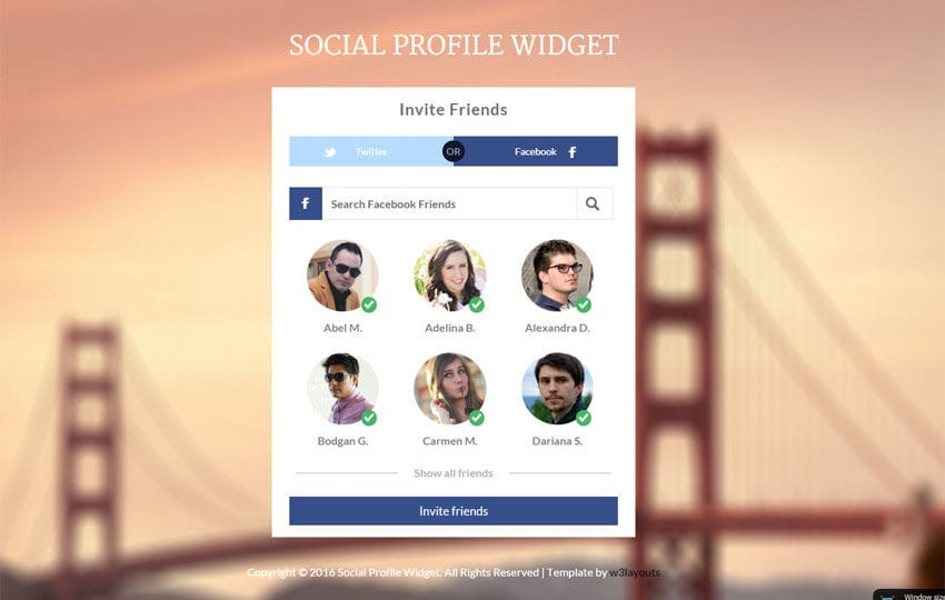 Social Profile Widget Responsive Template W3layouts Com