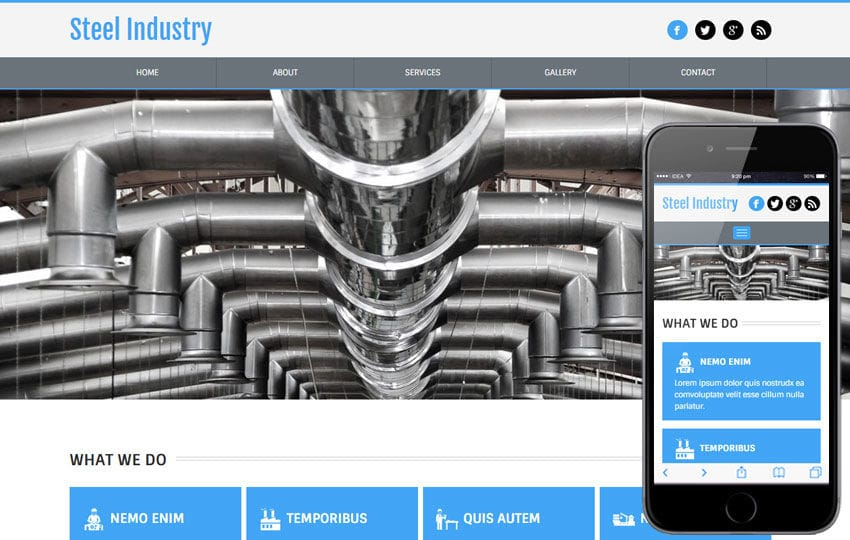 Steel Industry a Industrial Category Flat Bootstrap Responsive Web Template Mobile website template Free