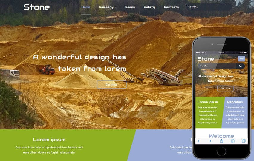 Stone a Industrial Flat Bootstrap Responsive Web Template Mobile website template Free