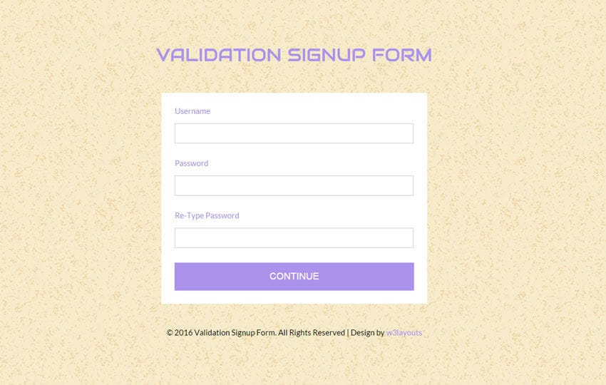 Validation Signup Form Responsive Widget Template  Free Sign Up Template