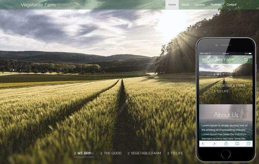 Vegetable Farm a Agriculture Category Responsive Web Template Mobile website template Free