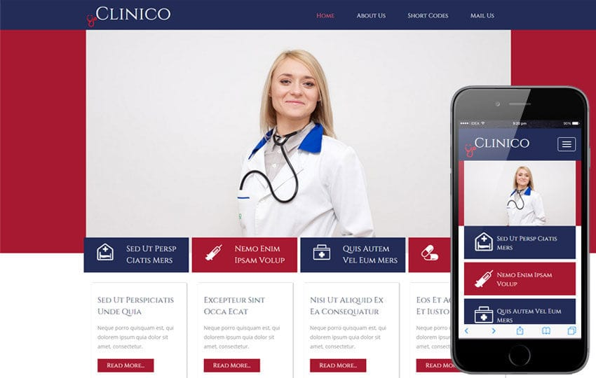 Clinico a Medical Category Flat Bootstrap Responsive Website Template Mobile website template Free