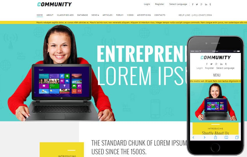 Corporate business mobile website templates community a corporate multipurpose responsive web template mobile website template free fbccfo Image collections